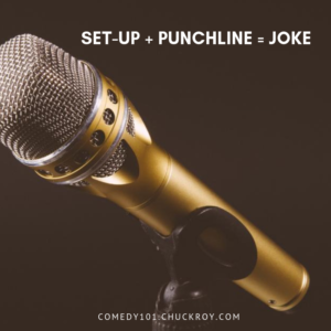 """A close up photo of a gold microphone. Text reads, """"Set-up + Punchline = Joke"""", a formual for writing stand-up comedy jokes. Comedy101.ChuckRoy.com"""